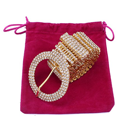 Santfe Womens Crystal Rhinestone Chain Waist Buckle Belt Sash Belt for Wedding Party Prom Evening Dresses (Gold)