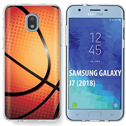[Armor Xtreme] Samsung Galaxy (J7 2018)/J7 Aero/J7 Refine/J7 Star/J737/J7 V 2nd Gen [Clear] Soft Slim Impact Protector Phone Case [Basketball Print]