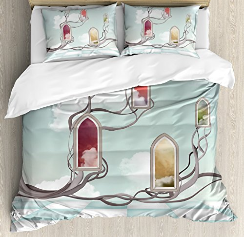 Magical Duvet Cover Set King Size by Ambesonne, Colored Mirrors over Tree Branch Clouds Dream Room of Sky Surreal Unusual Graphic Work, Decorative 3 Piece Bedding Set with 2 Pillow Shams, Multi by Ambesonne