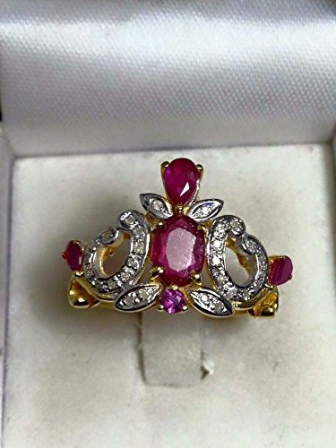 VINTAGE 9K SOLID GOLD GENUINE RUBY & DIAMOND CROWN RING 4g. SIZE 55 - 9k Solid Ring