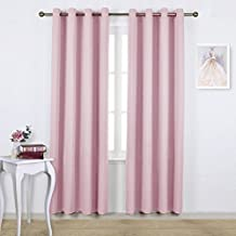 NICETOWN Blackout Curtains for Girls Room - Thermal Insulated Solid Grommet Room Darkening Curtains / Panels / Drape for Bedroom (One Pair, 52 by 84-Inch, Baby Pink)