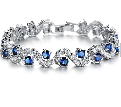 (VADUGAVARA White Gold Plated Tennis Bracelet Blue Sparkle Cubic Zirconia for Women Bridal Wedding Jewelry (Blue))