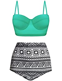 Women Vintage Polka Dot High Waisted Bathing Suits Bikini