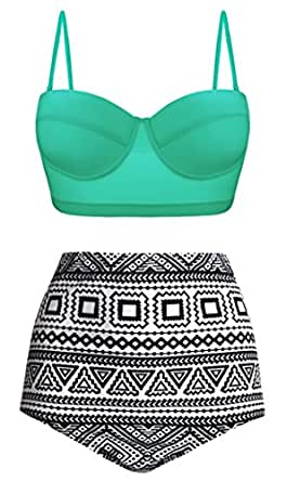 Angerella Women Vintage Geometric Print Bottom High Waisted Bathing Suits Bikini Green Mint