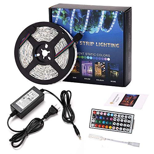 LEN LED Strip Lights with Remote 5M 16 4 Ft 5050 RGB 150LEDs Flexible Color  Changing Full Kit with RF mini Controller, 12V 2A Power Supply for Home &