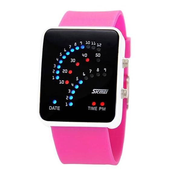 Moda Skmei binario LED Digital impermeable Unisex deportes casual muñeca relojes (rosa)