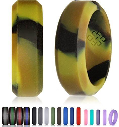 Knot Theory Camo Camouflage Silicone Wedding Ring Beveled Low-Pofile Band for Superior Style and Safety (Size 9, 6mm (Orange Camo Rings)