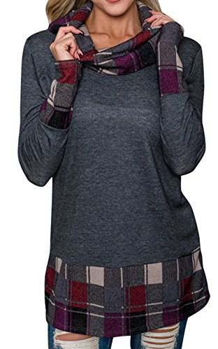 Plaid Cowl Neck (Mystry Zone Women's Casual Cowl Neck Long Sleeve Plaid Patchwork Color Block Blouse Top Gray Small)