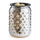 Candle Warmers Etc. Glass Illumination Home Fragrance Wax Warmer, Electric Glass and Metal Warmer - Mercury Glass