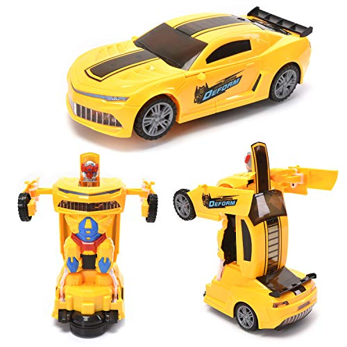 WonderPlay Transforming Toys Bumble Bee Car for Kids, Auto Transforming Auto Robots Action Figure and Toy Vehicles, Realistic Engine Sounds, Beautiful Flash Lights (Transforming Flash Light)