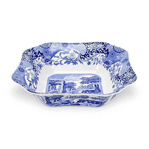 Blue Italian Square Salad Bowl - Spode - Blue Italian Square Salad Bowl 23.5cm