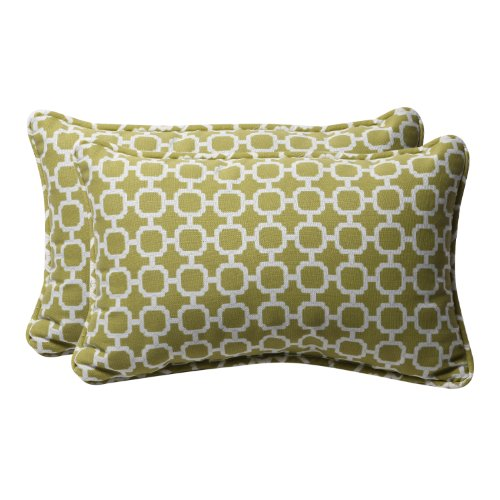 Pillow Perfect Decorative Green/White Geometric Rectangle Toss Pillows, 2-Pack ()