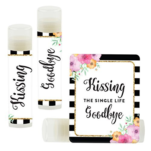 Andaz Press Bridal Shower Bachelorette Party Lip Balm Party Favors, Floral Gold Glitter Print with Black White Stripes, Kissing The Single Life Goodbye, 12-Pack
