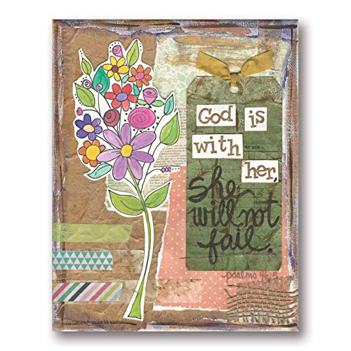 Beautiful Scrapbook-Style 'God is with Her, She Will Not Fail' Floral Sign; Inspirational Religious Decor; One 11x14in Poster Print