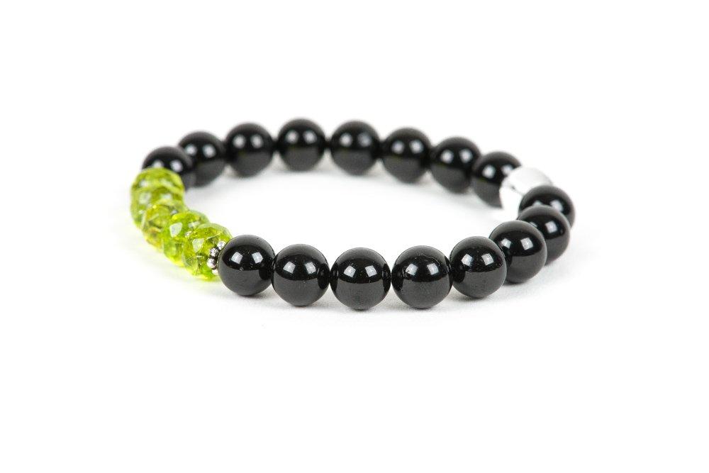 Peridot Black Tourmaline Gemstone Bracelet Stretch Bracelet Protective Bracelet