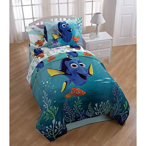 L&M 4 Piece Kids Blue Finding Dory Comforter Twin Set, Orange Nemo Bedding Fish Tropical Marine Life Childrens Clown Fish Coral Purple, Polyester