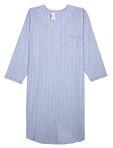 Men's Nightshirt Gown Long Sleeve Light Weight Cotton Poly (Blue & Navy Striped, X-Large)