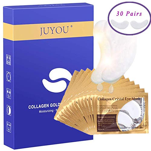 30 Pairs Collagen Eye Mask, Under Eye Patches, Collagen Crystal Under Eye Pads Patches, Under Eye Bags Treatment Crystal Under Eye Mask Anti-Aging for Moisturizing and Reducing Dark Circles Puffiness