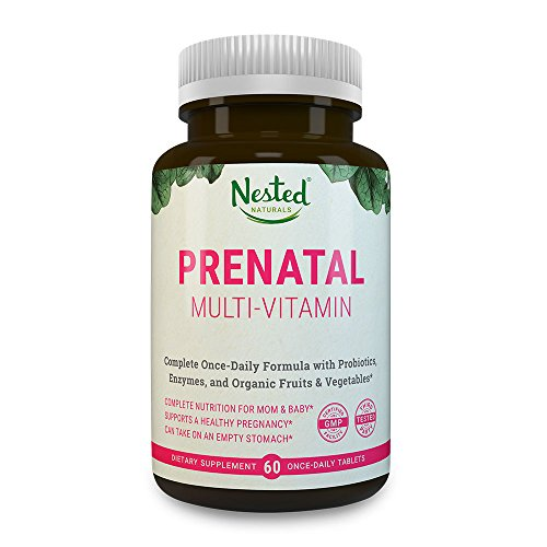 PRENATAL MULTIVITAMIN | 60 One a Day Vegetarian Tablets | With L-Methylfolate, Probiotics, Calcium, Iron, Green Superfoods, Choline for Women | Non GMO Pregnancy Multi Vitamin Prenatals Supplement