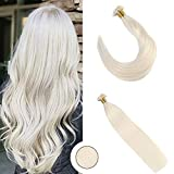 """Ugeat 16"""" Fusion Pro Bonded Tip Hair Extensions Lightest Blonde Color #60 1g/ Strand 50 Strands Real Human Hair Extensions 100 Real Human Hair Flat Tip Extensions"""