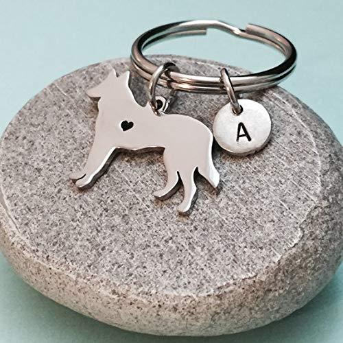 German Shepherd keychain, German Shepherd charm, dog keychain, personalized keychain, initial keychain, customized keychain, monogram