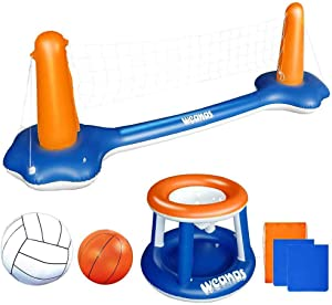 Weanas Inflatable Pool Float Set Volleyball Net and Basketball Hoops Floating Pool Swimming Game Toys Water Inflatable Sports Set for Kids (Dark Blue)