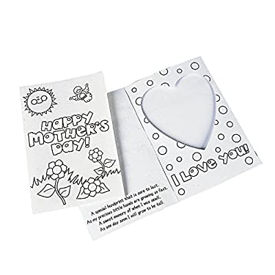 Color Your Own Picture Handprint Mother's Day Card for Mother's Day , Craft Kits , 12 Pieces: Toys & Games