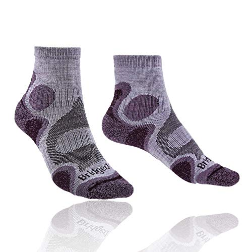 Bridgedale Women's Lightweight T2 Trail Sport - Merino Cool Comfort Socks, Heather/Damson, Small ()