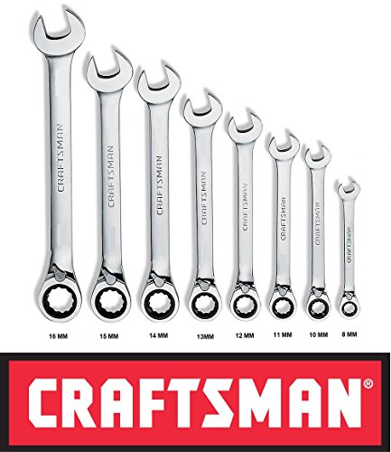 Craftsman 8 Pc Piece Reversible Ratcheting Wrench Set Polished Metric Mm ()