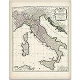 1794 Italy Map - 11x14 Unframed Art Print - Great Home Decor for Italians