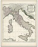 italian geography - 1794 Italy Map - 11x14 Unframed Art Print - Great Home Decor for Italians