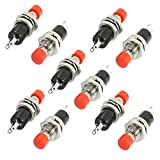 10 Pcs Red Cap SPST Momentary Mini Push Button Switch (Normally Open)