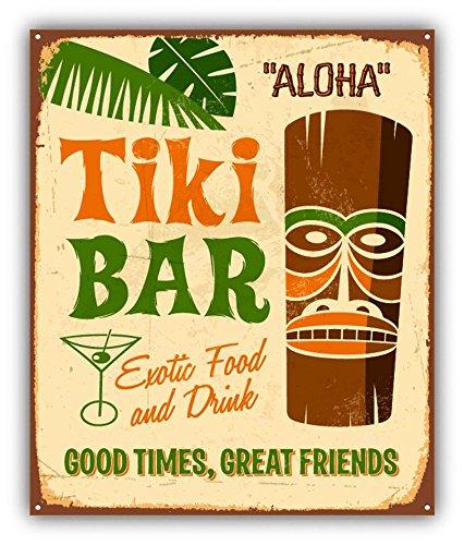 Aloha Tiki Sign - Tiki Bar Aloha Party Grunge Metal Sign Sticker Decal Design 4