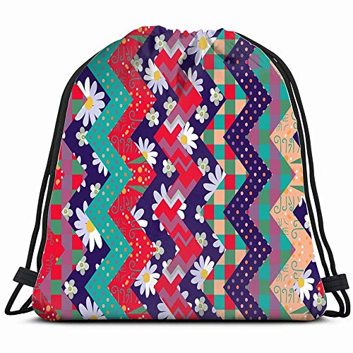 Bright Summer Patchwork Flowers Geometric Ornament Abstract Drawstring Bag Backpack Gym Dance Bag Reversible Flip Sequin Bling Backpack For Hiking Beach Travel Bags