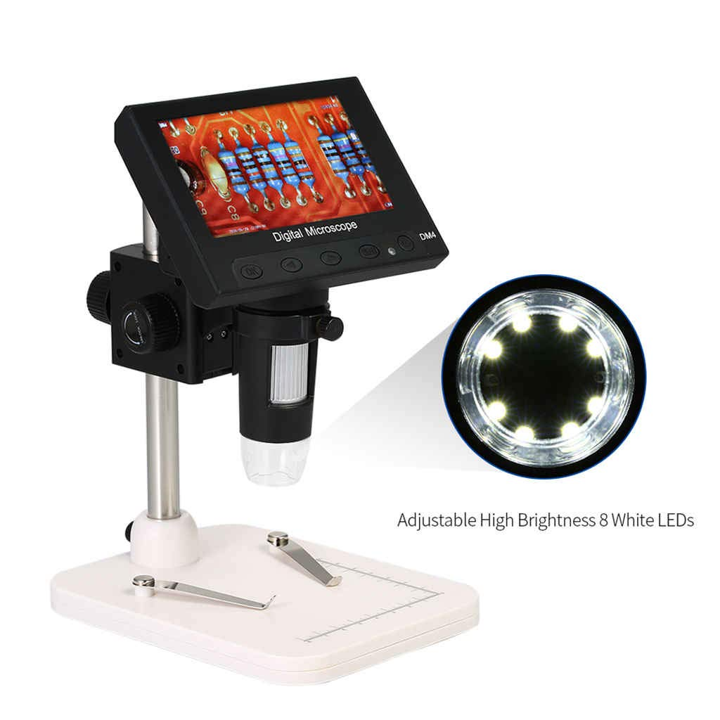 CUHAWUDBA Usb Digital Electronic Microscope 1000x 2.0mp Dm4 4.3 Lcd Display Vga Microscope Stand With 8 Led For Pcb Circuit Motherboard Repairing