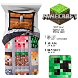 Minecraft Quilt Bedding Set Twin Size - Limited Edition 2017 Bundle - Quilt, Bed Sheet, Pilowcase - Christmas Boy Gift