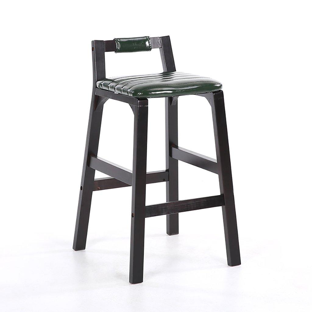 Vert Foncé 43.5337484CM LI JING SHOP - Tabouret en bois massif Tabouret haut Avec dossier Retour simplicité moderne Chaise de bar à la mode Accueil Tabourets de toilette (Couleur   Noir, taille   43.5  33  74  84CM)