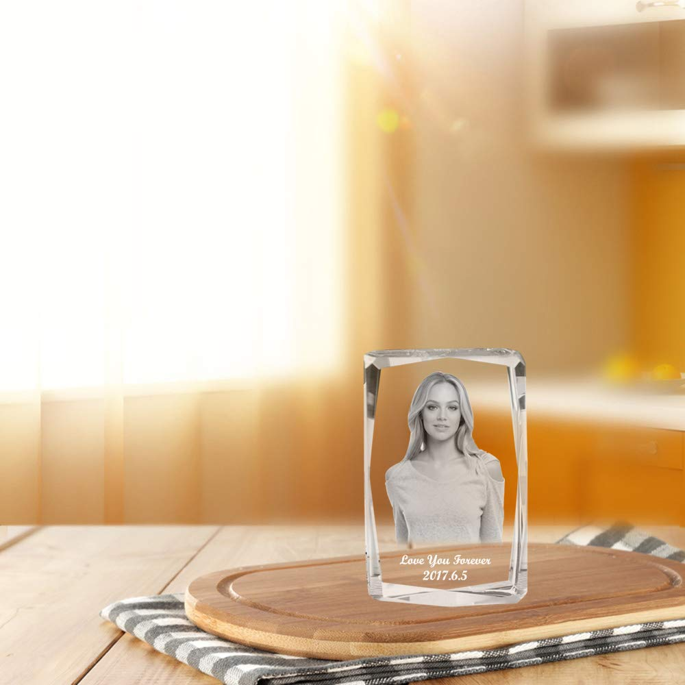 Qianruna Custom Personalized 2D/3D Laser Etched Photo in Crystal Glass Cube Photo Engraving Gifts for Birthday, Anniversary, Mother's Day,Father's Day,Valentine's Day,Christmas Day by Qianruna (Image #5)