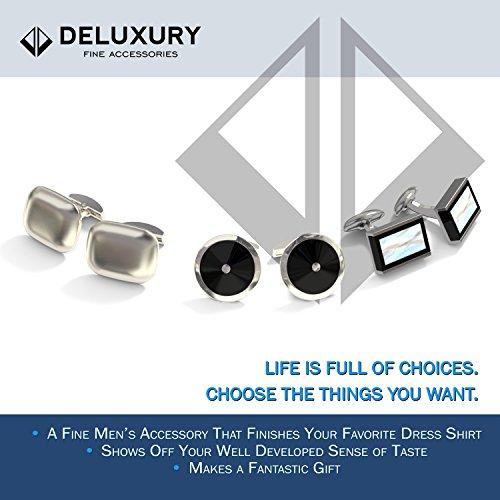 Cuff Link Set - Silver & Black Round for Men with Bonus Steel Collar Stays by Deluxury Fine Accessories (Image #7)