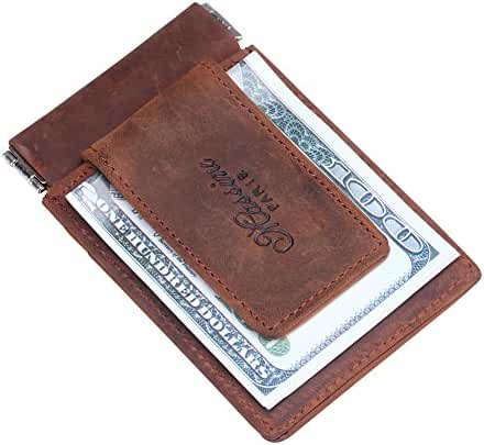 Win&Income Slim Wallet for Men,Leather Money Clip with Coin Pocket,Minimalist Front Pocket Card Holder