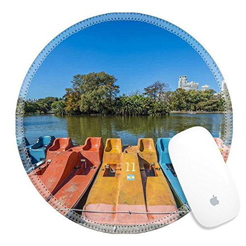 Luxlady Natural Rubber Round Gaming Mousepads Colorful boats on Parque Tres de Febrero also known as the Bosques Palermo Woods a 400 hectares urban park located in neighborhood of Buenos - Pa Capital City