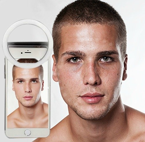 Selfie Ring Light for Camera with Rechargable Battery Selfy LED Camera Light [36 LED] for iPhone iPad Sumsung Galaxy Photography Phones, White RM
