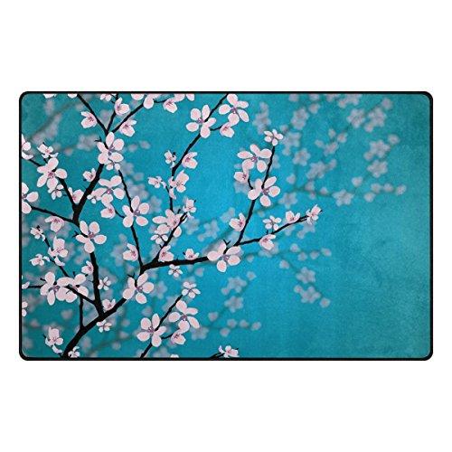 Florence Japanese Sakura Flowers Cherry Blossom Area Rug Non-Slip Doormats Carpet Floor Mat for Living Room Bedroom 60 x 39 ()