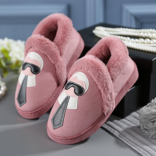 Y-Hui amantes femeninos invierno zapatillas de algodón bolsa con zapatos masculinos Home Furnishing Home zapatillas gruesa caliente al final del invierno,38-39 (apto para 37-38 pies),Hot Pink