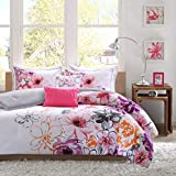 Comforter Bed Set Teen Kids Girls Orange Pink Purple White Floral Flowers Full/queen or Twin Xl Bedding Set (FULL/QUEEN)