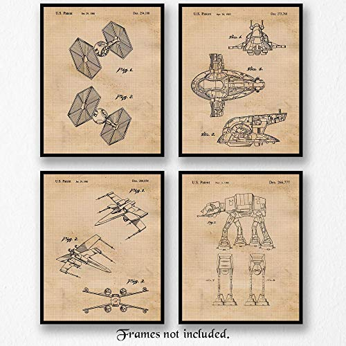 Original Star Wars Land-Air Vessels Patent Art Poster Prints- Set of 4 (Four 8x10) Unframed- Great Wall Art Decor Gifts Under $20 for Home, Office, Garage, Man Cave, Showroom, Teacher, Movies Fan