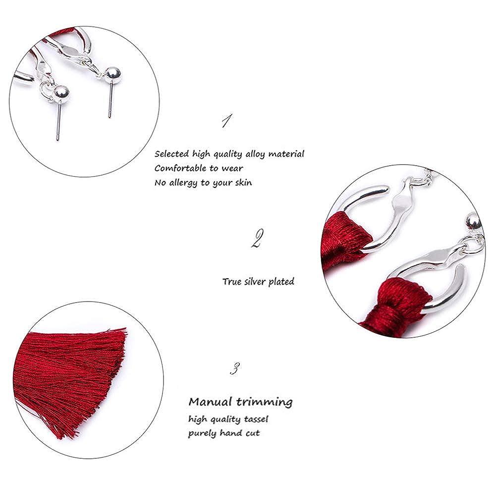 PAMTIER Elegant Handmade Long Tassel Dangle Earrings Fringe Drop for Women Girls