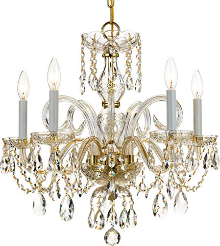 Crystorama 1005-PB-CL-SAQ Crystal Five Light Chandeliers from Traditional Crystal collection in Brass-Polished/Castfinish,