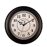 SonYo Silent Non-ticking Round Contemprary Antique Wall Clocks (12 Inches) Decorative Vintage Style,Black