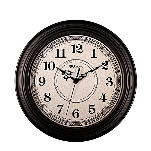 SonYo Silent Non-ticking Round Contemprary Antique Wall Clocks (12 Inches) Decorative Vintage Style,Black by SonYo